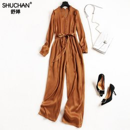 8c691c74afdc1 wide leg jumpsuits sleeves 2019 - SHUCHAN Rompers Womens Jumpsuit High  Street 2018 Summer Fashion Moda