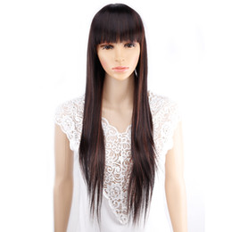 Wholesale Womens Bangs - Amir 11 colors Synthetic Long Straight Natural Hair Wigs With Bangs Womens African American Hair Brown Blonde Black Color