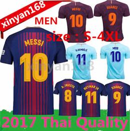 Wholesale Messi Quality Jersey - size:S-4XL Messi SUAREZ Jerseys 2017 2018 Camisas Neymar INIESTA O.DEMBELE PIQUE Soccer Jersey 17 18 Camiseta de futbol Thai quality