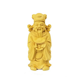 Wholesale Chinese Sculptures - 2018 New Chinese wealth God wood decoration feng shui wealth wood carving statue sculpture china gift
