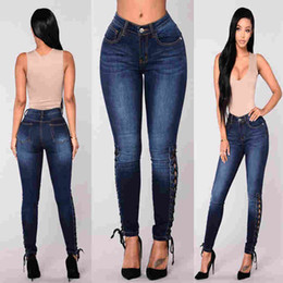 d14d3102bc7e8 plus size butt lifting jeans NZ - Women High Waisted SideLace Up Skinny  Stretch Butt Lift