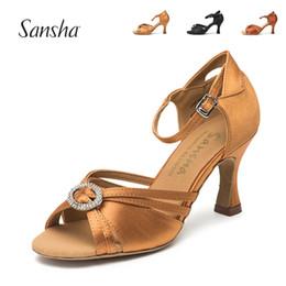 334f985eb8ee Sansha 2018 New Latin Ballroom Zapatos de baile Heel 7.5CM Salsa Rumba  Zapatos de baile Black Tan Golden 3 colores BR31032S