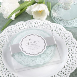 Wholesale Glass Wedding Box - 50set Glass Coaster Wedding Favors and gifts Glass Lace Coasters Wedding supplies Party Guest gift box Presents Wedding Favours