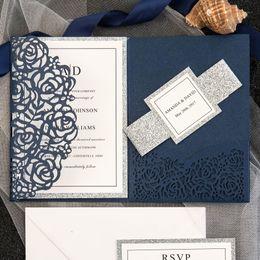 Wholesale Venda quente Azul Marinho Cortado A Laser de Luxo Tri Dobrado Cartões Do Convite Do Casamento Personalizado Oco Festa de Casamento Imprimível Envelope Do Cartão Do Convite