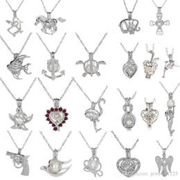 Montanti per ciondoli online-18kgp moda amore desiderio perla / gemma perle gabbia medaglione ciondoli, fai da te collana di perle pendenti fascino 50pcs / lot