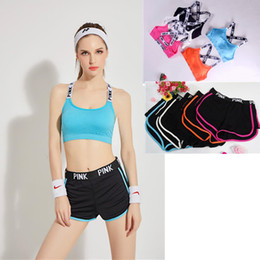 Wholesale Washable Pants - Women Summer Love Pink Letter Tracksuit Yoga Fitness Bra+shorts Two Pieces Set Sportswear Gym Running Crop Top Vest and Pants Underwear Suit