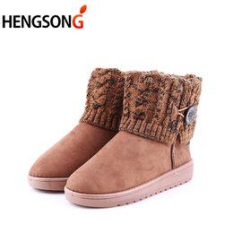 Wholesale slim boots for women - Female Women Snow Boots Slim Winter Boots Fashion Ankle For Female Flat Botas Women Winter Warm Shoes DP930307