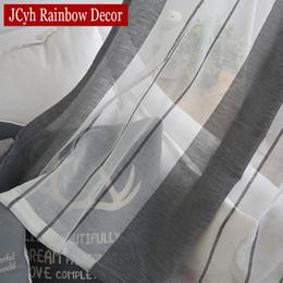 2019 leinenstreifenstoff Fenster Grau Leinen Sheer Tüll Vorhänge Für Wohnzimmer Streifen Moderne Vorhänge Für Schlafzimmer Fenster Voile Vorhangstoffe Jalousien Vorhänge günstig leinenstreifenstoff