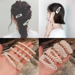 Perlas hermosas mujeres online-Nuevas mujeres de la manera Crystal Rhinestone perlas horquillas hechas a mano perlas de cristal Barrettes hermosas perlas completas pinza de pelo para diario