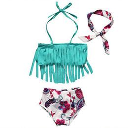 Crianças, crianças, swimsuit on-line-Crianças Floral Swimwear meninas headband + tassel top + shorts 3 pçs / set 2018 verão Biquíni Crianças Maiô C3876
