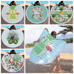 Wholesale Tablecloths Tassels - 5 Styles 150cm Flamingo Beach Towel Tapestry Towel Round Tablecloth With Tassel Flamingo Beach Serviette Covers Beach Mat CCA9001 20pcs