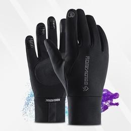 protezione antivento nero Sconti Guanti in pelle nera da uomo unisex Touch Screen foderato di lana sottile Guanti caldi invernali