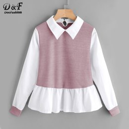 Wholesale Color Block Blouses - Dotfashion Color Block Ruffle Regular Fit Blouse 2017 New Arrivals Woman Shirt Top Autumn Long Sleeve Casual Blouse