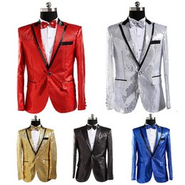 Blazers morados online-Chaqueta de traje para hombre con pajarita dorado blanco rojo azul rosa traje de lentejuelas púrpura Cantante de discoteca Novia de la boda novio brillante blazer