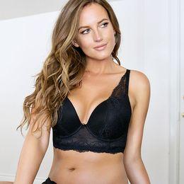 Wholesale Sexy Big Breasted Women - Women Big Breast Bra Sexy Lacy Women Bra 3 4 Cup Underwire Push Up High Quality Big Size Plus Size 30-46D DD DDD E F FF G L5351