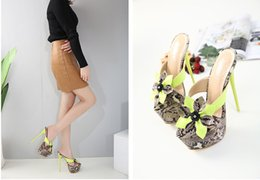 Wholesale Ladies Wedding Slipper Shoes - New 2018 adorable flower printed platform shoes 16cm sexy lady ultra high heels slipper