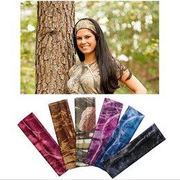 Wholesale Sports Hair Bandanas - Camouflage Turban Headbands Women Twist Stretch Hairbands Sport Headband Yoga Headwrap Head Band Hair Accessory LJJO4487
