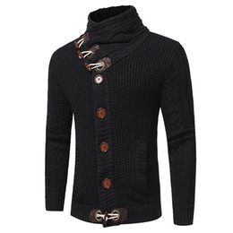Wholesale Turtleneck Cardigan Sweater Men - New Men Sweater Fashion Brand Clothing Winter Thick Turtleneck Mens Christmas Sweaters Coat Male Knitted Cardigan