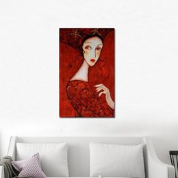 Arte sessuale calda online-Dipinto a mano Modern Portrait Women Hot Sex Image Canvas Dipinto a mano astratto Wall Art Lady in Red Dress dipinti ad olio