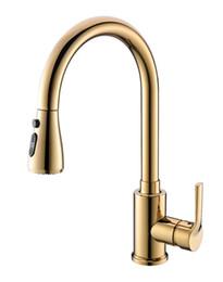 Спрей кухонный смеситель онлайн-PVD золото вытащить кухня спрей кран смеситель кран одно отверстие палубе крепление новый
