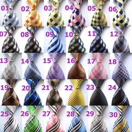 Wholesale Gold Grid - 30 Color Fashion Mens Tie Plaid Silk Jacquard Woven Necktie Business Wedding Party Ties For Men