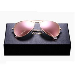 Wholesale Uv Mirror - op quality Glass lens Polit luxury Sunglasses carfia 58mm UV 380 sunglasses for men Designer sunglasses Vintage metal Sport Sun glasses