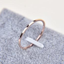 Rose männer ringe online-1 MM Thin Titan Stahl Silber-farbe Paar Ring Einfache Mode Rose Gold Fingerring Für Frauen und männer herren geschenke