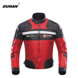 Wholesale Duhan Race Jacket - DUHAN Motorcycle Jackets Motorbike Windproof Racing Jacket Body Armor Protective Moto Winter Motor Jacket Red