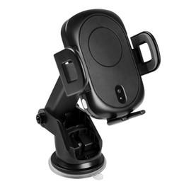 положение автомобиля Скидка Портативный автомобильный держатель телефона для Samsung Note 9 S9 S8 Позиционирование Инфракрасное зондирование Быстрая беспроводная зарядка для iPhone X XR XS Max