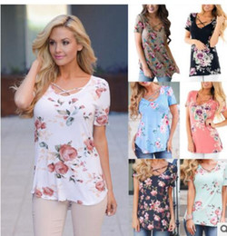 Wholesale Basic White Tee - Womens Blouse T-Shirt Summer BOHO Ladies Casual Print Floral Pullover Jumper plus size Loose Basic Tops Tee