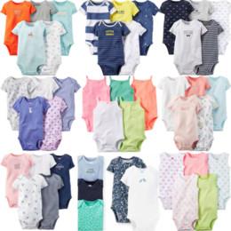 Cute Summer Baby Girl Boy Pagliaccetti 2018 Dark Buckle Neonato neonato 5 pezzi manica corta o-collo arrampicata vestiti di cotone da