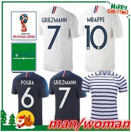 Wholesale two star - Two stars 2018 MBAPPE Soccer jerseys world cup Franceing GRIEZMANN POGBA KANTE Jersey football DEMBELE GIROUD soccer man and woman shirt