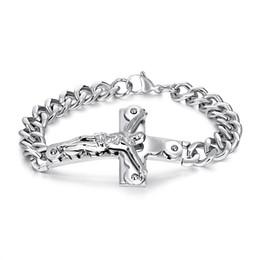 f2bf9cc792c3 Crucifijo Jesucristo cruz encanto hombres pulsera cadena Curb Link acero  inoxidable oro brazalete masculino 21 cm regalo de la joyería GS972