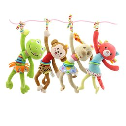 Wholesale Hung Monkeys - Happy monkey Frog Rabbit Baby toys cartoon animals bells Plush Doll Bed hanging Mobile cloth Pull Ratlle car Cotton Infants Education Toys