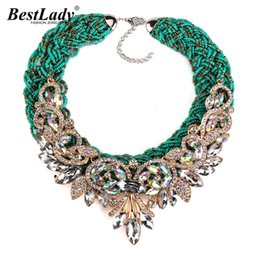 Wholesale exaggerated bib necklace - Best lady Exaggerated Vintage Bohemia Bib Beads Green Rope Luxury Crystal Flower Maxi Rhinestone Bijoux Statement Necklace 2865