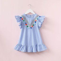 vestido de moda que projeta o bebê Desconto Moda novo design Do Bebê Meninas vestido de princesa crianças menina vestido de princesa verão listrado manga curta mini vestido com pingentes de borlas