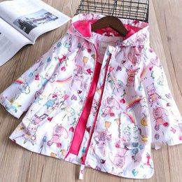 Wholesale Cartoon Hoodies Girls - Everweekend Girls Cartoon Mouse Print Hoodie Jackets Outwears Candy Color Spring Autumn Sweet Children Outwear