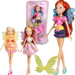 Wholesale Toy Action Figure Dolls - 3 styles Colorful girl Winx Club Doll Beautiful girl Action Figures Winx Dolls with Exquisite Wing Classic Toys For Girls Gift