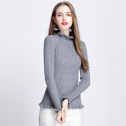 774640ce211  Lakysilk Korean Pullover Knitted Sweater Women Slim Thicken Bottom Shirt  Ladies Clothing Full Sleeve Office Lady Grey Blouse