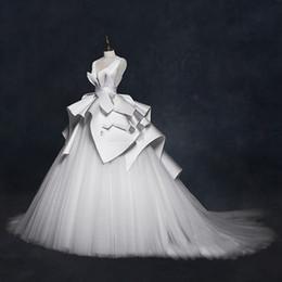Wholesale High End Wedding Gowns - Vintage 2018 Wedding Dresses Ruffles Ruched Elegant Bridal Gowns V-neck Backless High End Wedding Gowns Vestido De Noiva