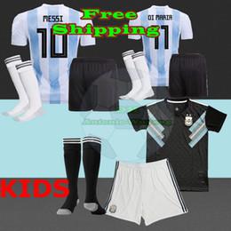 Wholesale Baby Kit S - 2018 Argentina KIDS Jersey football KITS child baby shirts Home AWAY Messi argentina Dybala Di Maria Icardi Perez Soccer jersey