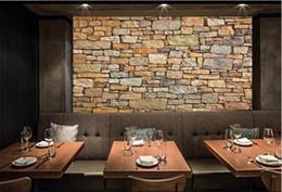 Wholesale Brick Wallpaper 3d - murales de pared 3d naturaleza wallpaper brick wall for Living Room Resturant Room Office Backside Wall Decor Stone Wall paper