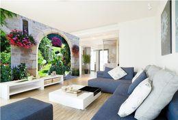 Wholesale Garden Wall Mural Wallpaper - Customize Size Mural Wallpaper Background European Garden Flowers Restaurant Decor Wall Covering Living Room Modern Painting