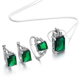 collar esmeralda de la boda fija Rebajas 2018 elegante conjunto de joyas para las mujeres compromiso verde zircon color plateado la mejor opción para el regalo de la boda