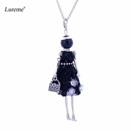 Wholesale Woman Fashion Doll Dresses - whole saleLureme Handmade Doll Necklace Dress Handmade French Doll Pendant News Alloy Girl Women Flower Fashion Jewelry (nl005749)