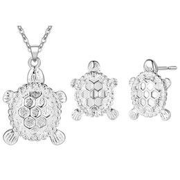 Wholesale turtles earrings - Silver Plated Cute Tortoise Turtle Animal Stud Earrings Chain Pendant Necklace Fashion Womens Jewelry Sets for Party Wedding
