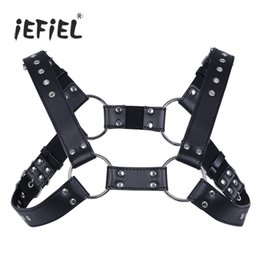 Wholesale Lingerie For Free - iEFiEL Sexy Men Lingerie Faux Leather Adjustable Body Chest Harness Bondage Costume with Buckles for Men's Clothing Accessories