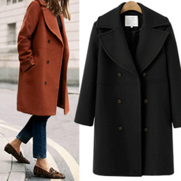 Европейские зимние пальто женщин онлайн-Lanmox 2017 Autumn Winter Cashmere trench coat Fashion Women Wool Coat Loose Female Outerwear Overcoat  European Jacket