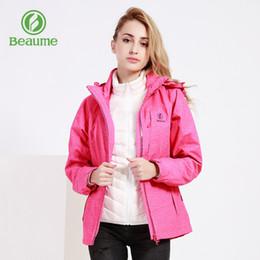 2019 красные спортивные куртки женщин Beaume зима с капюшоном ветрозащитный водонепроницаемый верхняя одежда женская зимняя куртка для спорта 74064 Красный дешево красные спортивные куртки женщин