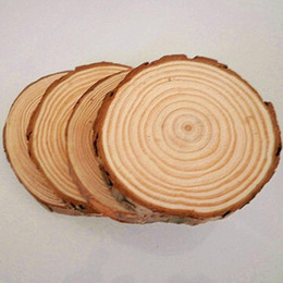 Wholesale Wooden Embellishments - 30pcs lot Plain Wood Wooden Hearts Embellishment Blank Heart Wood Slices Discs Natural Wood Color Birch Tree DIY Crafts